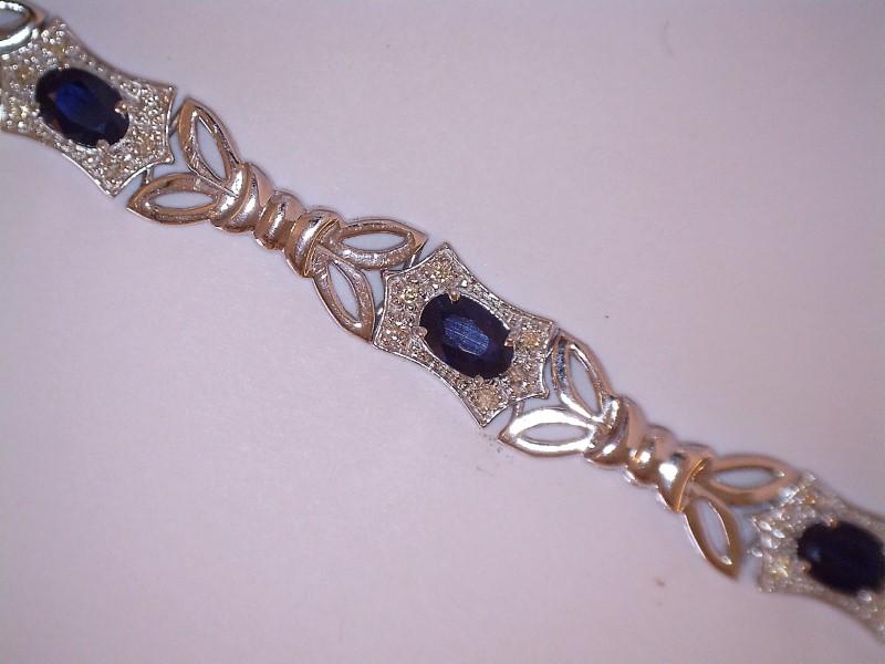 Sapphire Gold-Stone Bracelet 14K White Gold 7.95dwt