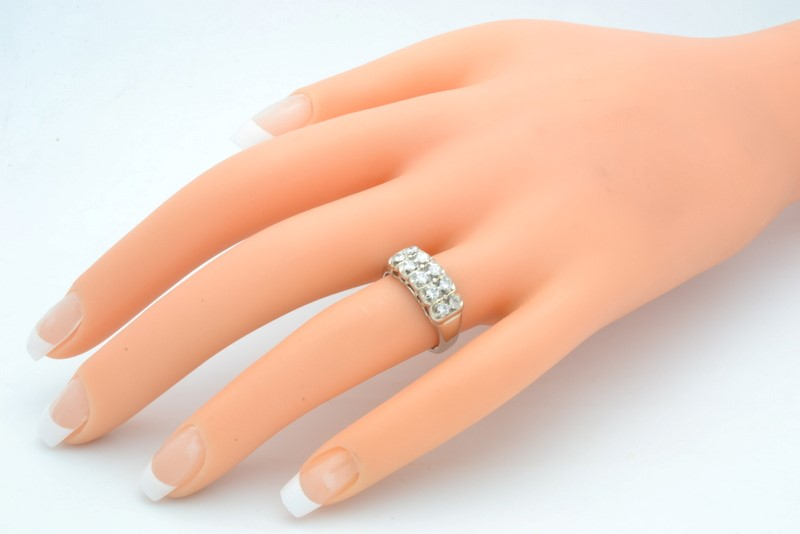ESTATE DIAMOND RING BAND SOLID 14K WHITE GOLD ANNIVERSARY WED SIZE 6