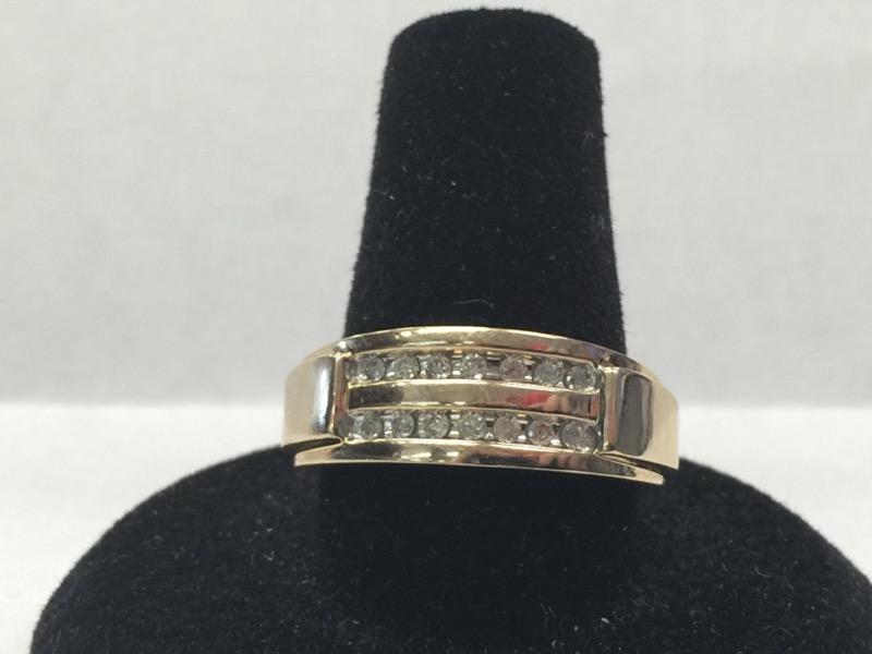 LDS 10KT Gent's Diamond Fashion Ring 14-DIAMOND 14 Diamonds .14 Carat T.W.