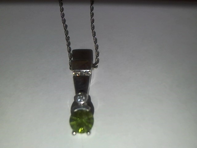 Green Stone Diamond & Stone Necklace 4 Diamonds .08 Carat T.W. 14K White Gold
