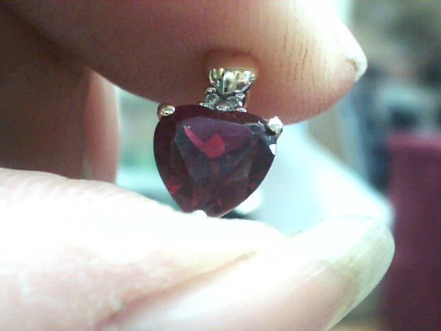 Synthetic Ruby Gold-Diamond & Stone Pendant 2 Diamonds .010 Carat T.W.