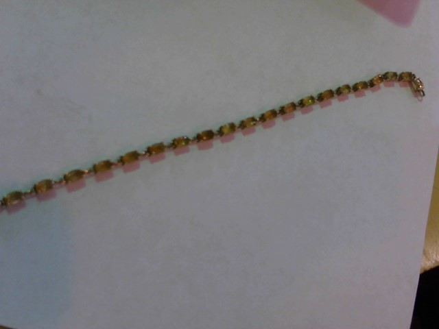 Orange Stone Gold-Stone Bracelet 10K Yellow Gold 4.6g