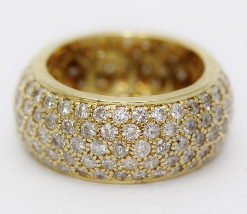 14K Yellow Gold Round Brilliant Pave Set Diamond Encrusted Ring Band sz 7.5