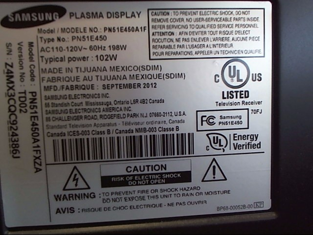 SAMSUNG Flat Panel Television PN51E450A1F
