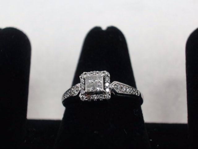 Lady's Diamond Cluster Ring 29 Diamonds .45 Carat T.W. 10K White Gold 2g