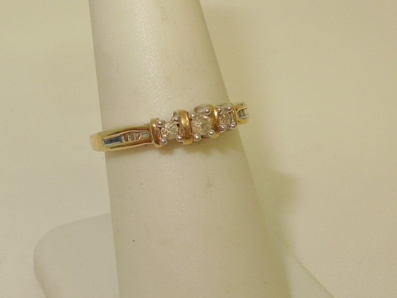 Lady's Diamond Engagement Ring 9 Diamonds .29 Carat T.W. 14K Yellow Gold 2g
