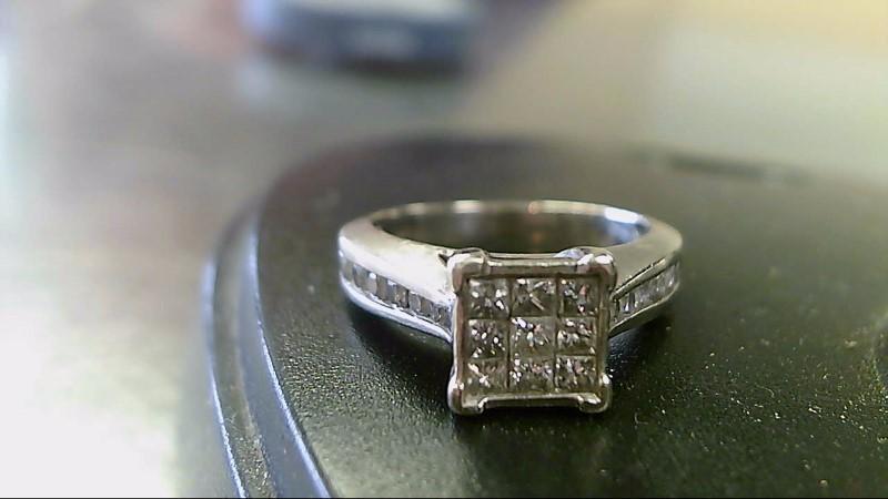 Lady's Diamond Cluster Ring 25 Diamonds 1.70 Carat T.W. 10K White Gold 4.7g