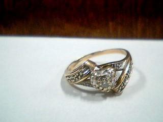 Lady's Diamond Fashion Ring .03 CT. 10K 2 Tone Gold 2.2g Size:6.5