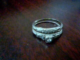 Lady's Diamond Solitaire Ring 13 Diamonds .46 Carat T.W. 14K White Gold 3.3g