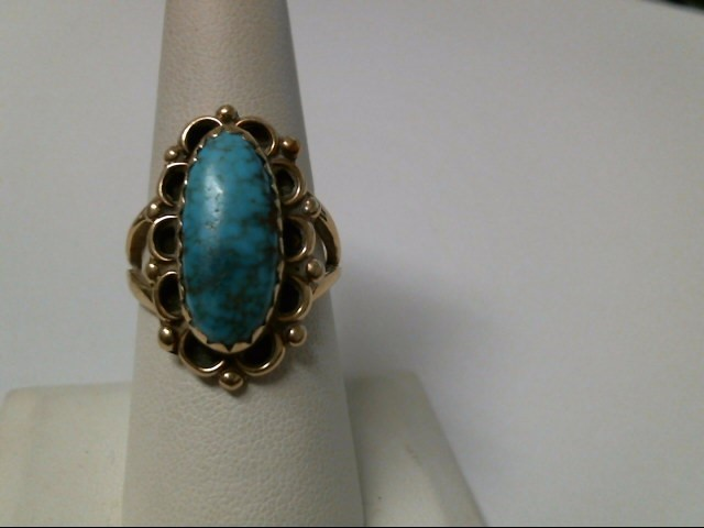 Synthetic Turquoise Lady's Stone Ring 14K Yellow Gold 7.9g Size:8.5