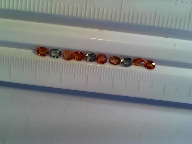 Sapphire 2.95ctw green, orange, yellow 10 stones