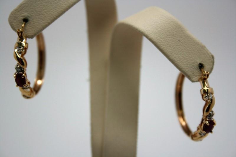FASHION HOOP EARRINGS W/ DIAMOND & RUBY 14K YELLOW GOLD