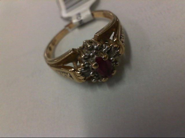 Red Stone Lady's Stone & Diamond Ring 4 Diamonds .04 Carat T.W. 10K Yellow Gold