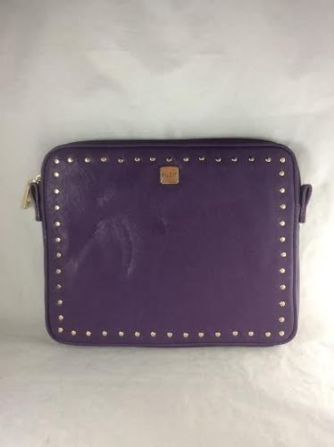 "R&Em Studded Purple iPad Case Zipper Closure Gold Accents Strap Tabs 10.5 x 8.5"""