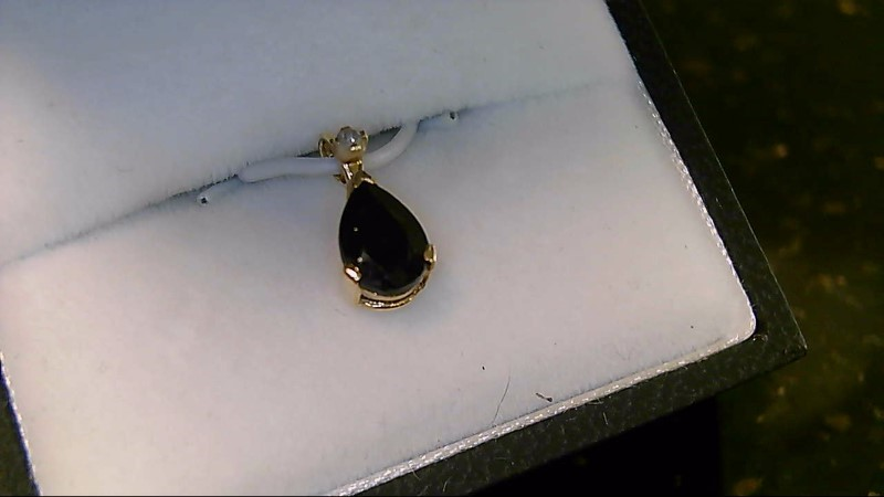 Synthetic Sapphire Gold-Diamond & Stone Pendant .01 CT. 10K Yellow Gold 0.5g
