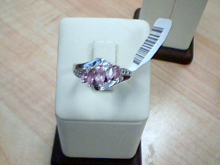 Synthetic Agate Lady's Stone Ring 10K White Gold 3.04g