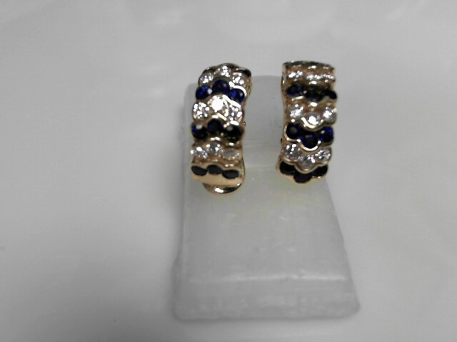 Sapphire & Diamond Earrings 18 Diamonds .90 Carat T.W.