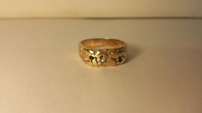 Gent's Diamond Nugget Ring 4 Diamonds .08 Carat T.W. 14K Yellow Gold 3.2dwt