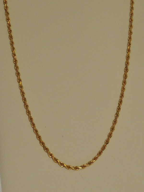 """18"""" Gold Rope Chain 14K Yellow Gold 8.4g"""
