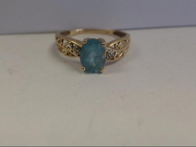 Aquamarine Lady's Stone & Diamond Ring 2 Diamonds .02 Carat T.W.