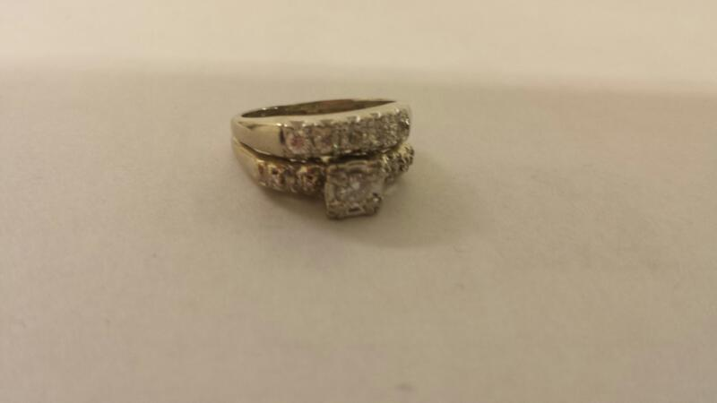 Lds 14K-W/G Diamond Wedding Set