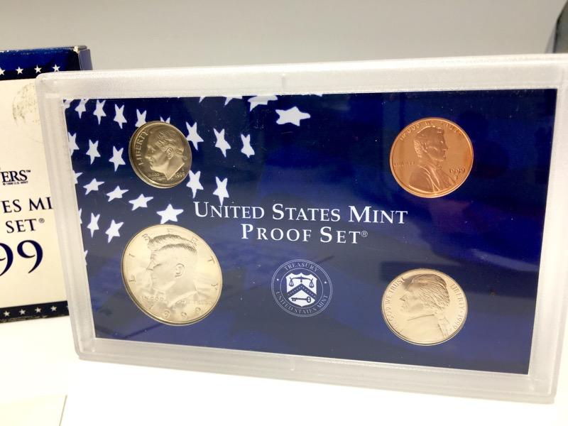 1999 United States Mint Proof Set - 9 Coins - Box & COA - NICE