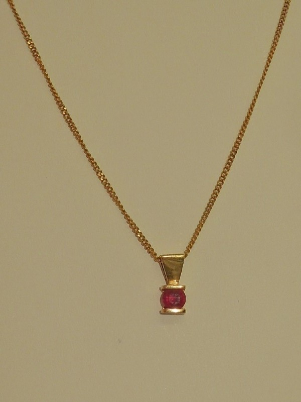 Synthetic Ruby Stone Necklace 14K Yellow Gold 4.7g