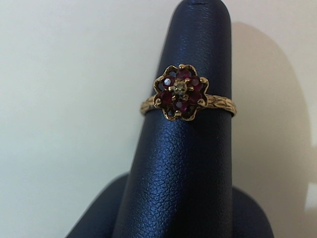 Red Stone Lady's Stone & Diamond Ring .01 CT. 10K Yellow Gold 2.1g Size:6.5