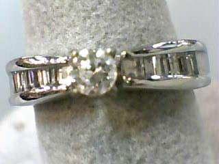 Lady's Diamond Engagement Ring 18 Diamonds .57 Carat T.W. 14K White Gold 3.3dwt