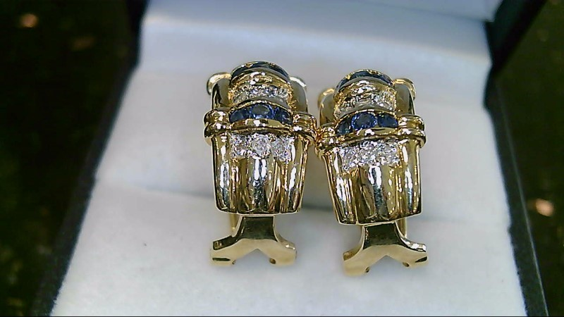 Lady's 14k yellow gold round sapphire and round diamond lever back earrings