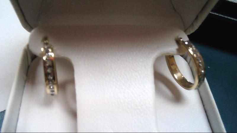 Gold-Diamond Earrings 10 Diamonds .50 Carat T.W. 14K Yellow Gold 1.5g
