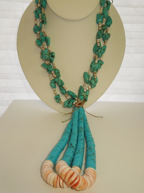 """19"""" Synthetic Turquoise Stone Necklace 168.4g"""