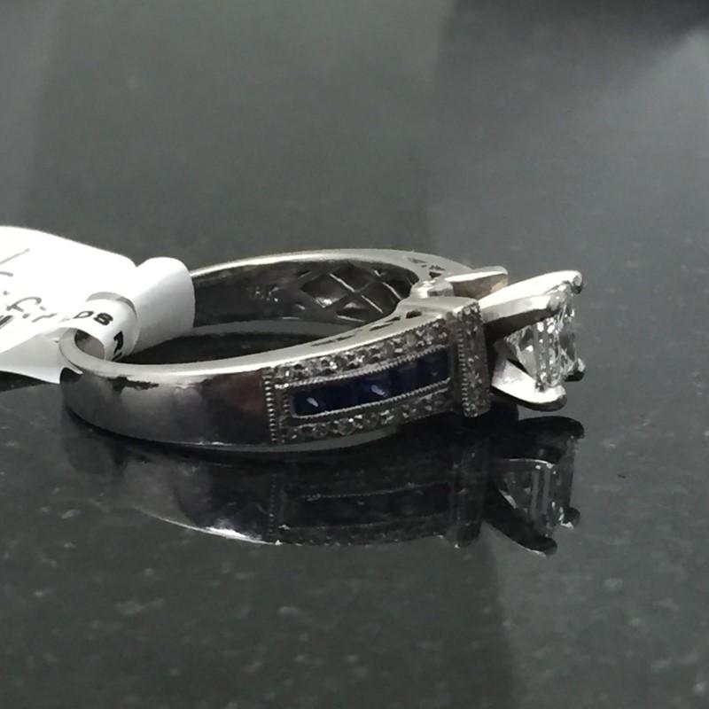 Lady's Diamond Engagement Ring 29 Diamonds .91 Carat T.W. 14K White Gold