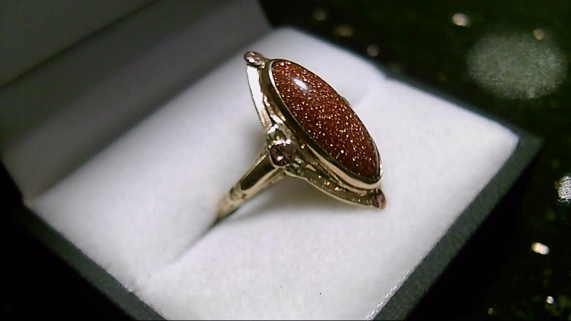 Goldstone Lady's Stone Ring 10K Yellow Gold 3g Size:6.5