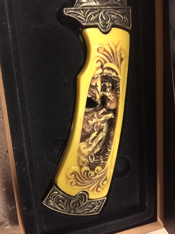 BLADE W/ WOLF FAUX IVORY HANDLE AND WOODEN DISPLAY CASE
