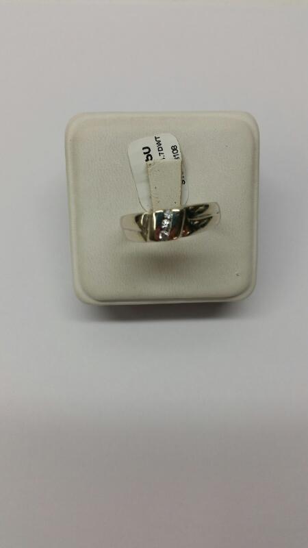 Gent's Diamond Fashion Ring 3 Diamonds .06 Carat T.W. 14K White Gold 4.7dwt