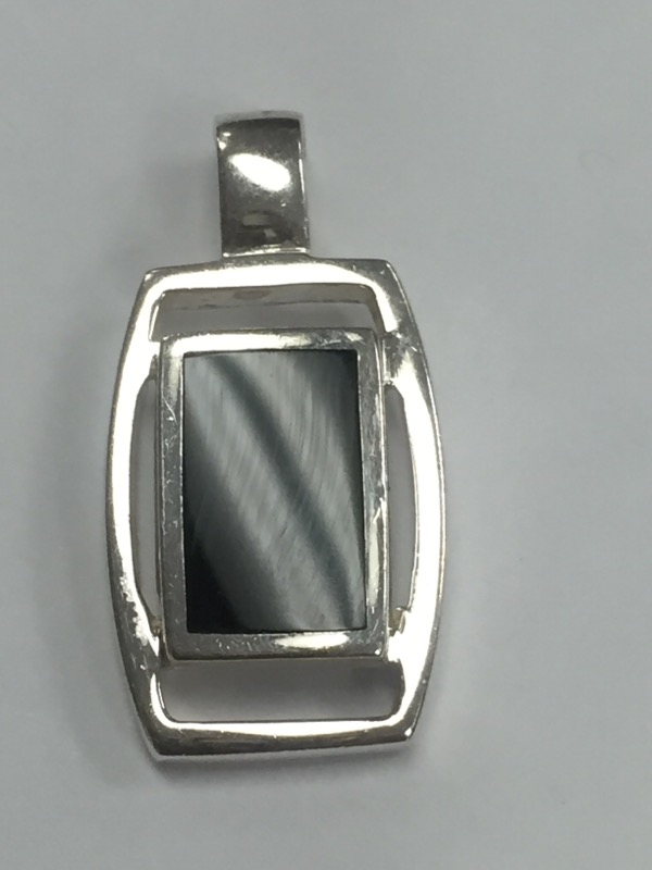 Synthetic Onyx Silver-Stone Pendant 925 Silver 3.78g