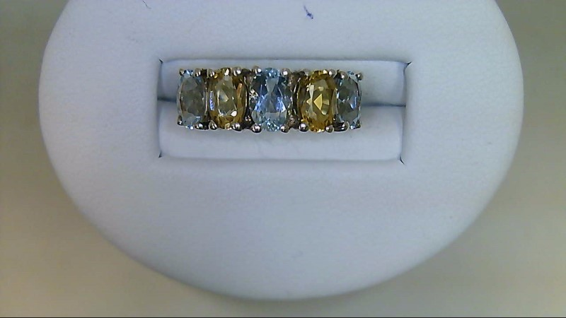 Lady's Sterling Silver Oval Citrine and Topaz Ring