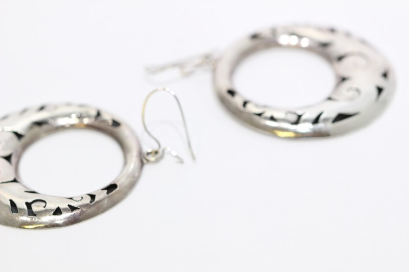 Vintage TAXCO Sterling Silver Filigree Circle Hoop Drop Dangle Earrings