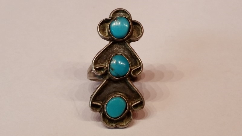 Native American Indian Turquoise Lady's Silver Ring 925 Silver 7.7g Size:8.5