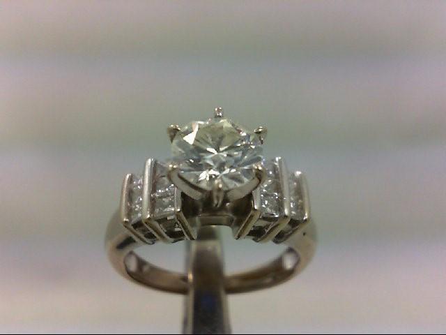 Lady's Diamond Engagement Ring 13 Diamonds 1.75 Carat T.W. 14K White Gold 4.75g