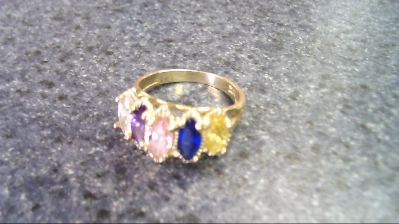 White Stone Lady's Stone Ring 14K Yellow Gold 3g