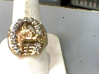 Gent's Diamond Fashion Ring 14 Diamonds .28 Carat T.W. 10K Yellow Gold 4.1dwt