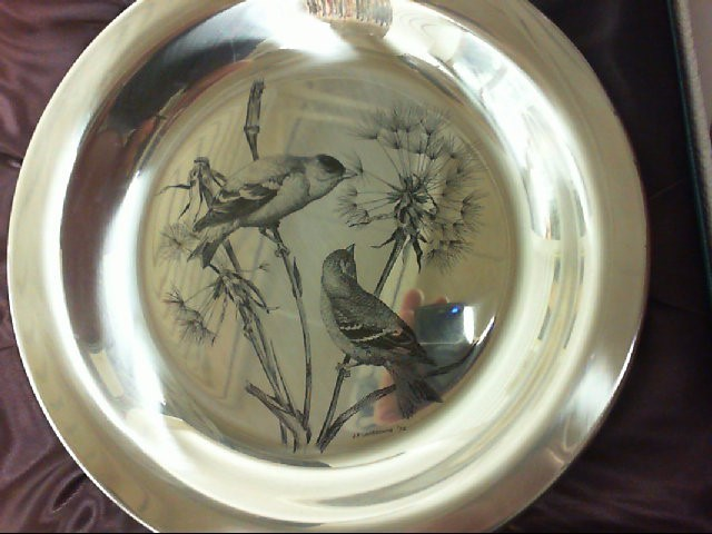 FRANKLIN MINT THE GOLDFINCH SOLID STERLING SILVER LIMITED EDITON PLATE