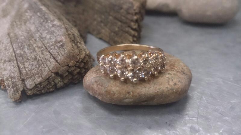 Lady's 2 rowDiamond Anniversary Ring 14 Dia 14K yg