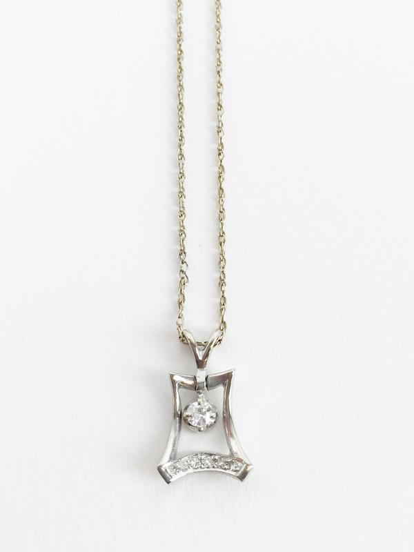 "Diamond Pendant 3 Diamonds .03 Carat T.W. 14K White Gold 1.91g 20"" Chain"