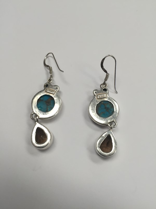 Turquoise Silver-Stone Earrings 925 Silver 11.5g