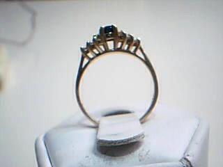 Blue Stone Lady's Stone & Diamond Ring 12 Diamonds .12 Carat T.W.