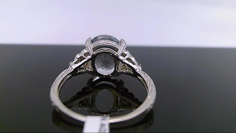 Aquamarine Lady's Stone & Diamond Ring 4 Diamonds .08 Carat T.W. 14K White Gold