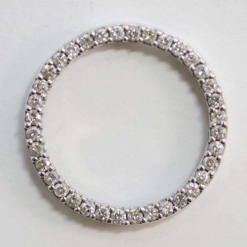 Circular 10K White Gold Scalloped Pave Brilliant Cut Diamond Pendant